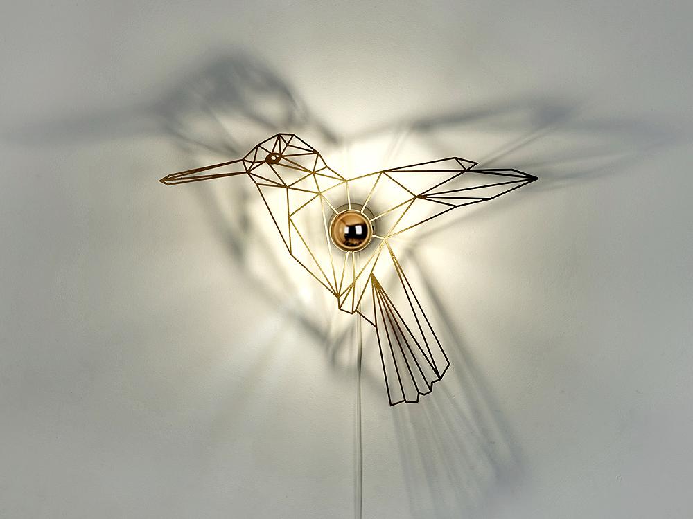 goldener Vogel Schattenlampe